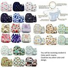 Washable Cloth Baby Cute Diapers Adjustable Reusable Set 6 Diapers + 6 Inserts
