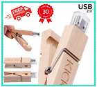 New! USB Wooden Clip Flash Drive 2.0 For Memory Stick Pen Storage FREE SHIPPING
