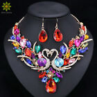 Crystal Bridal Jewelry Sets Swan Pendant Necklace Earrings Women Gift Party