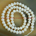"Wholesale Natural Cultured Freshwater White Pearl Round Loos Beads 14.5"" Strand"