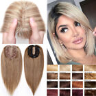 Damen Clip In Topper 8ARemy Echthaar Toupee Toupet Haarersatz Silk Base mit Pony