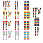 Knee Thigh High Socks/Arm Warmer Gloves with Rainbow Striped for Party Cosplay