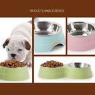 Round Pet Feeding Dog Cat Double Bowl Stainless Steel Drinking Water Food Feeder
