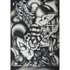 Chicano Me by Dave Sanchez Mexican Skeleton Black White Tattoo Canvas Art Print