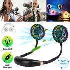 USB Rechargeable 7 LED Light Neck Fan Portable Mini Lazy Neckband Hanging Sports