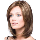 Women Ombre Short Straight/Curly Wig Brown Blonde Bob Natural Wavy Full Hair Wig