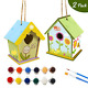 DIY Bird House Kit for Kids 2 Pack Wooden Birdhouse with 12 Color Paints Brushes photo