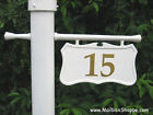 Personalized Cast Hanging Lamp Light Pole Post Number Sign - Black or White