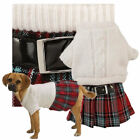Dog Cable Knit Jumper Clothes Red Plaid White Knit