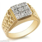 Mens Nine Simulated Diamond Stone 18kt Gold Plated Ring