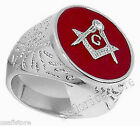Mens Red Round Masonic Mason Rhodium Plated Ring