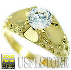 Mens 6mm Simulated Diamond 1.45ct Gold Plated Ring