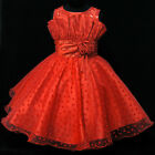 R8811 Red Christmas Bridesmaid Flower Girls Pageant Dress SZ 2-3-4-5-6-7-8-9-10Y
