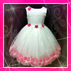 UK 1811-NT Pink White Christmas Wedding Party Flowers Girls Dress AGE 1-2-3-4-5Y