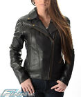 Ladies Brando Motorcycle Leather Jacket -A+ Soft Supple Light Cowhide- CE Armour