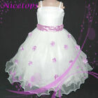 US FX Purple #408 White Christmas Wedding Party Girls Dress AGE 2-3-4-5-6-7-8-9Y