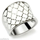White Epoxy Clover Cocktail Silver Stainless Steel Ladies Ring New