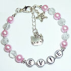Girls Personalised hello kitty charm bead friendship bracelet birthday gift BR23