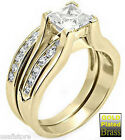Princess CZ Cut Stone Gold EP Wedding Engagement Ring Set