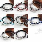 8/Colors  Crystal Glass Rhineston Scorpion Disco Ball Macrame Weave Bracelet