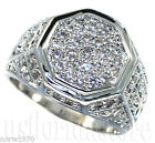 Octagon Shape Full Crystal Rhodium Plated Mens Ring