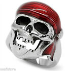 Skull Pirates Unisex Silver Stainless Steel Ring Size 5-6-7-8