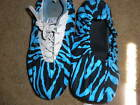 BOWLING SHOE COVERS-BLUE AND BLACK ZEBRA PRINT