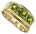 Three Peridot Color Green CZ Stone Gold Plated Mens Ring