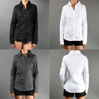 Career Skinny Fit Button Down LONG SLEEVE BLOUSE Basic Stretch Slim Shirt sz SML