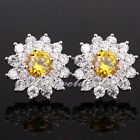 1Pr Round Stone Silver Earrings for Ladies S925 Pin Quality Made