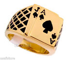 Poker Lucky Vegas Black Jack 18kt Gold EP Mens Ring
