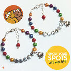 Personalised Children In Need Pudsey Blush Charity Bear Charm Bracelet Wristband