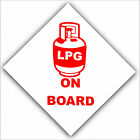 1/6 x LPG On Board-Health and Safety Adhesive Vinyl Sticker-Gas Warning Red Sign