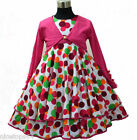 HP3118A Pink X'mas Girls Pageant Dress + Cardigan SET Outfit SZ 2,3,4,5,6,7,8,9T