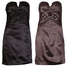 Little Strapless Brown or Black Diamante Bustier Mini Party Dress sizes 8 10 12