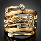 Ladies Rhinestone Geometric Pattern Finger Party Ring 18K Yellow Gold GP Jewelry