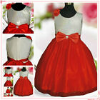 R1525 Baby Girl Red White Christmas Wedding Flower Girls Dress SZ 2T,4T,6T,8T,9T