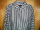 NWT mens size L 41/43 blue white black gray striped ATTENTION l/s dress shirt