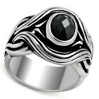 Mens Black Wizard Oval CZ Classic Stainless Steel Ring