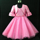 Girl Hot Pink Wedding Party Flower Girls Dress + Cardigan SIZE 2,3,4,5,6,7,8,9Y