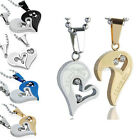 New Women Men Couple Stainless Steel Heart Pendant Necklace 4 Colours