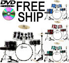 New 5 Piece Complete Junior Childrens Drum Set with DVD Cymbals Stands Stool