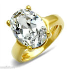 4.3 Carat Oval Cubic Zirconia Gold Plated Bridal Engagement Solitaire Ring