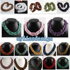 1pc Fashion Womens Girl Gem Stone Chips Necklace Beads Chain Wrap OT Clasp Gift