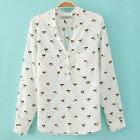 Women's Dog Printed Chiffon V-neck Long Sleeve Leisure Button Shirt Blouse Tops
