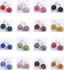 Wholesale 17Color Choose Shining Crystal Disco Ball Beads Studs Earrings 10MM