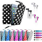 NEW iPHONE 5 LEATHER POLKA DOT ULTRA BACK FLIP CASE COVER FREE IN EAR EARPHONES