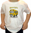 BIG YELLOW SCHOOL BUS PERSONALIZED WITH NAME KIDS T-SHIRT white grey