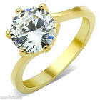 Ladies Round Cut  4ct Solitaire Engagement Yellow Gold Plated Ring