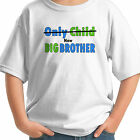 ONLY CHILD NOW BIG BROTHER BOLD GREEN BLUE PERSONALIZED NAME KIDS T-SHIRT